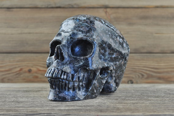 Natural Realistic Arfvedsonite Crystal Skull, 5 inches!