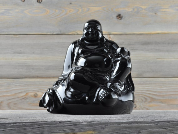 Natural Black Obsidian Crystal Buddha, Large