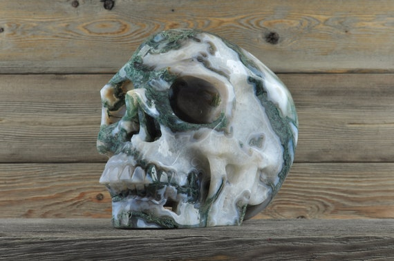 Natural Moss Agate Crystal Skull, XL