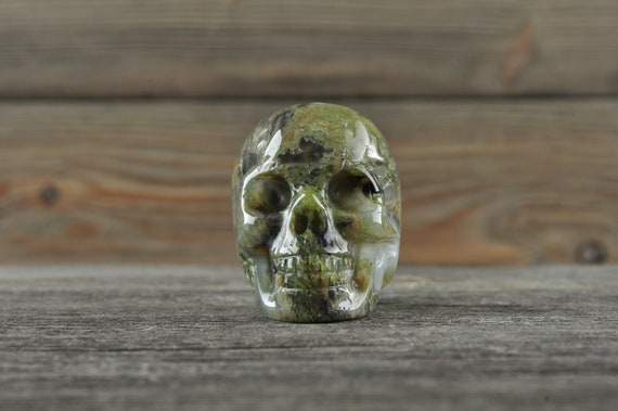 Natural Moss Agate Crystal Skull, Mini