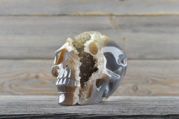 Beautiful Natural Quartz and Yellow Agate Geode Crystal Skull!