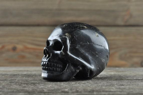 Natural Realistic Black Tourmaline Crystal Skull, Mini!