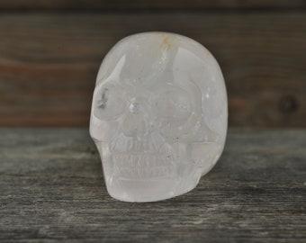 Rose Quartz Crystal Skull, 2 inch! Halloween Decor, Skull Decor, Gothic Home Decor, Memento Mori, Goth Decor, Crystal Decor