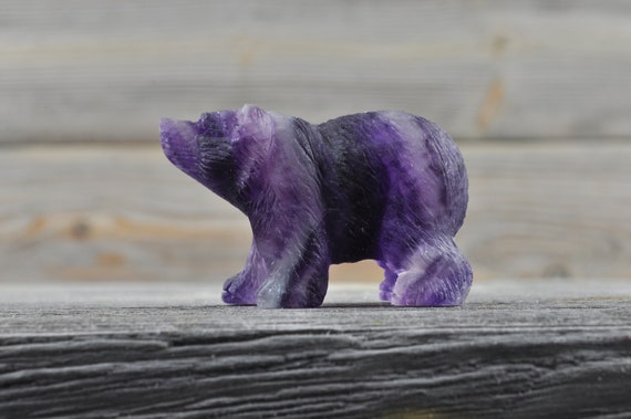 Purple Fluorite Crystal Bear, Mini