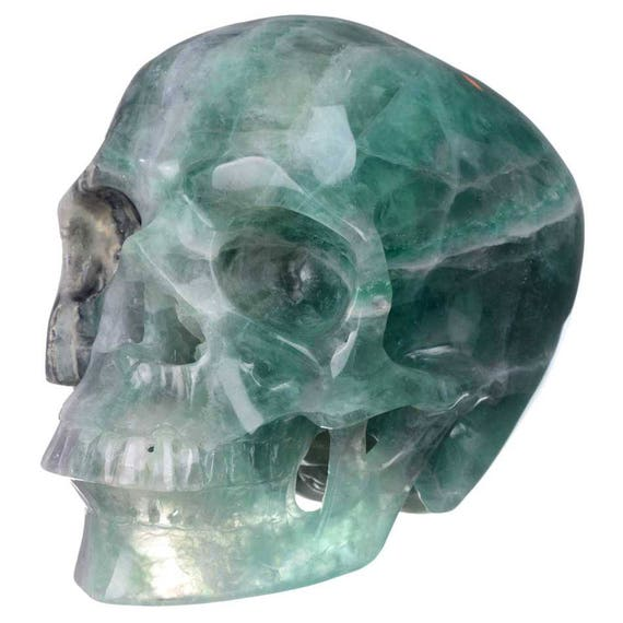 Ocean Green, Rainbow Banded Fluorite Crystal Skull!  Huge!!