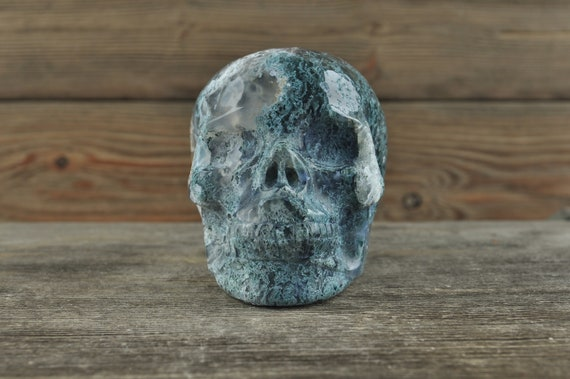 Natural Realistic Moss Agate Crystal Skull, 3.75 inches!