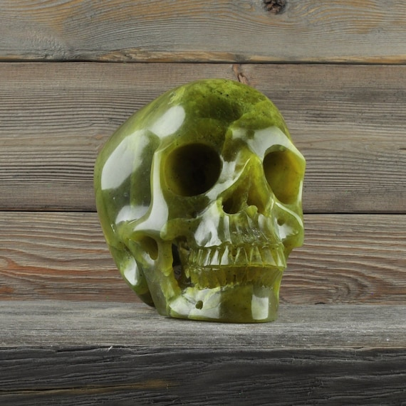 Natural Nephrite Jade Crystal Skull, Large