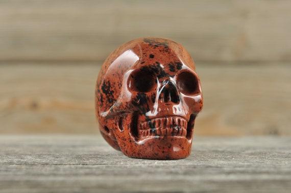 Amazing Natural Mahogany Obsidian Crystal Skull, 2 inch!