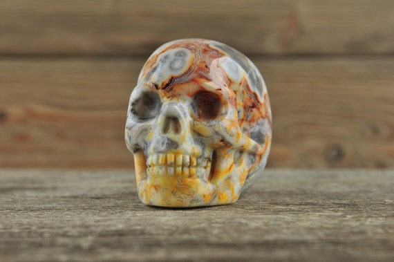 Gorgeous Crazy Lace Agate Crystal Skull, 2 inch