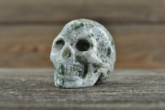 Amazing Natural Moss Agate Geode Crystal Skull, Mini