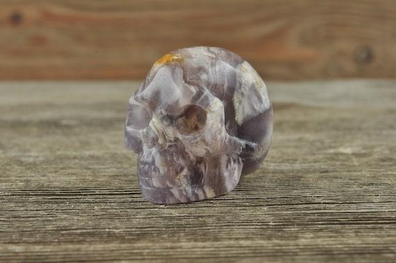 Purple Fluorite Crystal Skull, Mini! Halloween Decor, Skull Decor, Gothic Home Decor, Memento Mori, Goth Decor, Crystal Decor