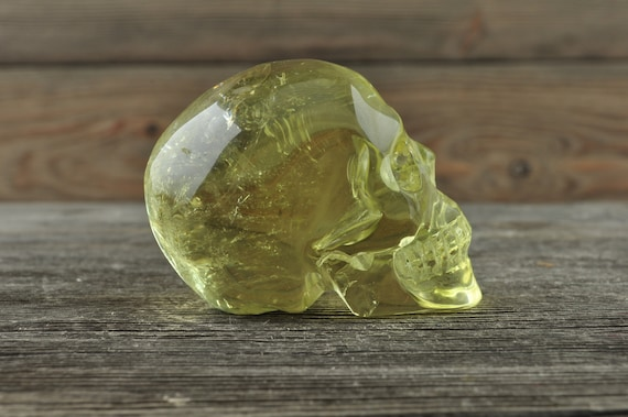 Super Clear High Quality Natural Citrine Crystal Skull, Small