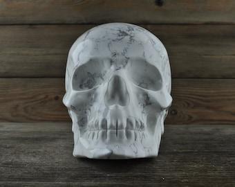 PREORDER: Amazing Howlite, Crystal Skull, 5 inches!, Skull Decor, Gothic Home Decor, Memento Mori, Goth Decor, Crystal Decor