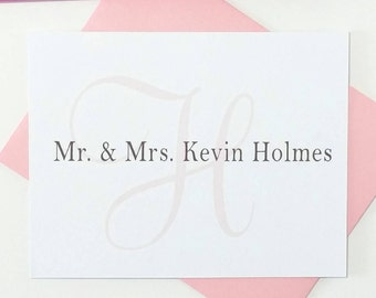 Monogram Thank You Cards Wedding Gift, Personalized Stationery Couple Note Cards, Stationery Personalized Note Cards Folded, Set of 12