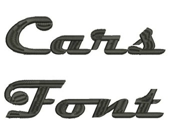 Cars Font A-Z and 0 -9 Embroidery Design Now Come with .BX Ready Font!
