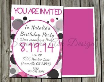 Printable Customizable DIY Birthday Invitation PDF or JPEG download. 5x7 inches. Pink, Black, Grey Polka Dots