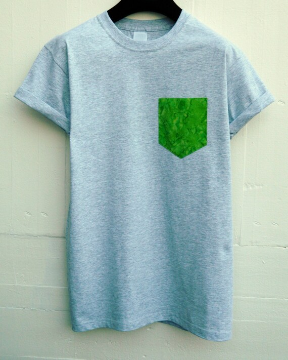 Men's Lime Green Batik Pattern Grey Pocket T-Shirt