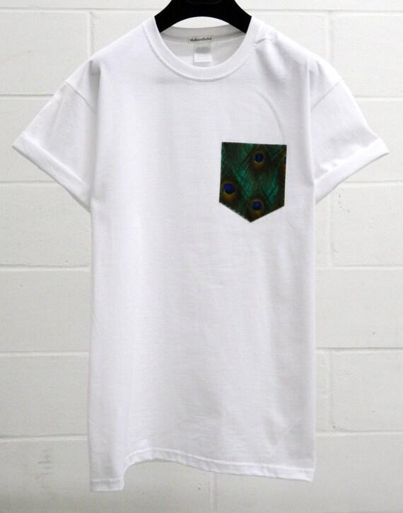 Mens Peacock Design White Pocket T Shirt Mens T Etsy