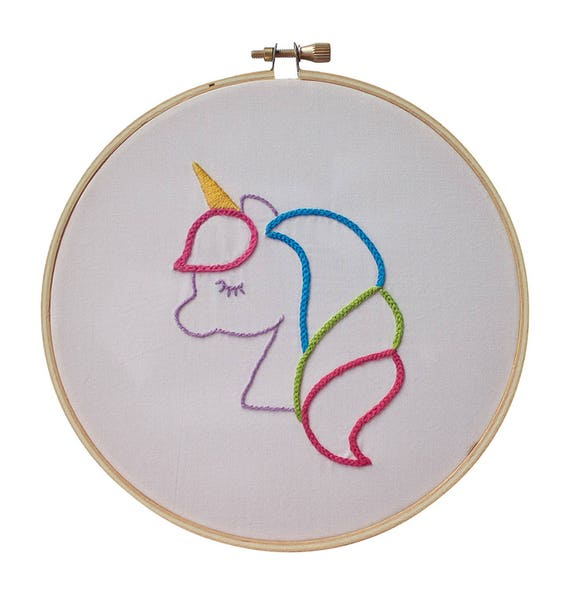 Unicorn Embroidery kit from Queen Bee Stitches - lovely gift for a girl who likes to sew.