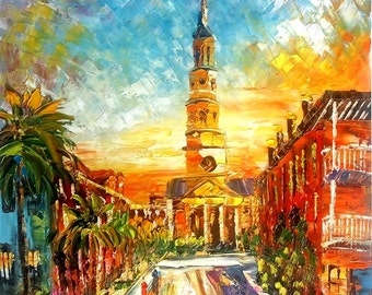Broad STREET Sunset, Charleston SC-Pen King -A1205