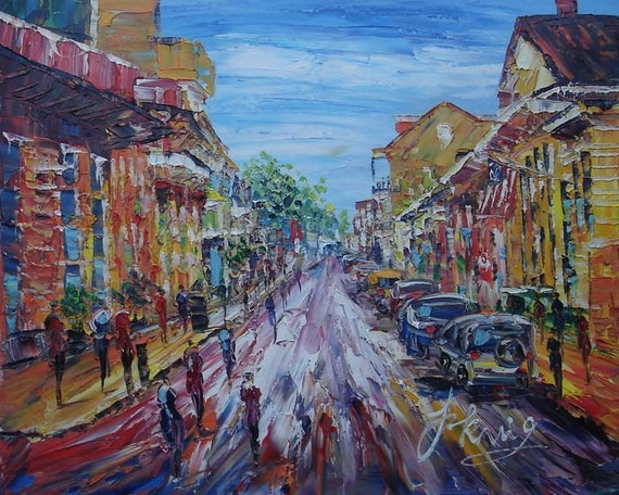 New Orleans French quarter street ORIGINAL illustration wall art