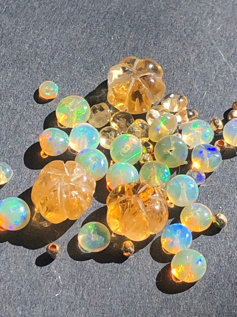 citrine and opal necklace on silk