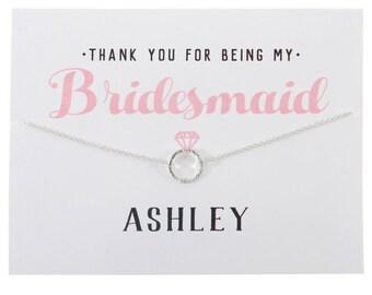 SILVER - Thank You Bridesmaid Card - Bridesmaid Gift - Bridesmaid Necklace