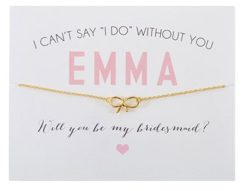 GOLD ~ Bow Charm Bridesmaid Card ~ Bow Charm Necklace ~ Bridesmaid Proposal ~ Bridesmaid Gift ~ I Can't Say I Do Bridesmaid Card