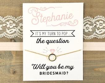 Custom Bridesmaid Card ~ Bridesmaid Necklace ~ Bridesmaid Proposal ~ Pop the Question Bridesmaid Card ~ Bridesmaid Gift