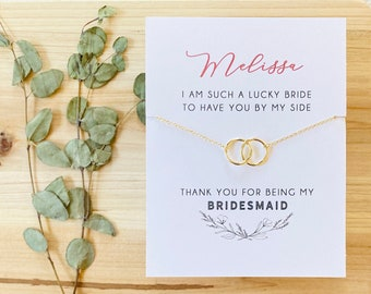 Thank You Bridesmaid Card - Thank you for being my Bridesmaid - Maid of Honor Card - Bridesmaid Necklace - Bridesmaid Gift