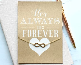 Her Always His Forever with Infinity Bracelet