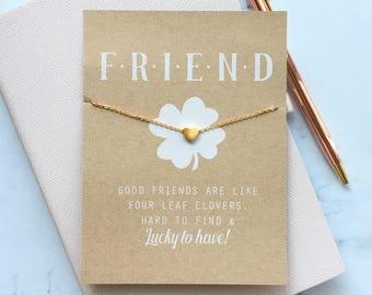 Lucky Charm Friendship Card ~ Friend Charm Necklace ~ Heart Charm Necklace ~ Best Friend Card