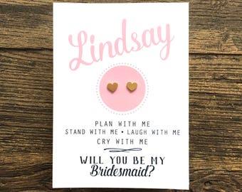GOLD ~ Bridesmaid Heart Earrings ~ Bridesmaid Card ~ Will You Be My Bridesmaid ~ Bridesmaid Proposal ~ Ask Bridesmaid