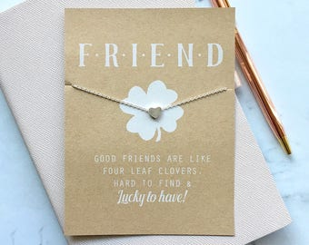 SILVER ~ Lucky Charm Friendship Card with Heart Charm Necklace ~ Best Friend Card ~ Friendship Card