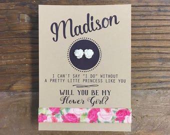 Flower Girl Card ~ Flower Girl Earrings ~ Will You Be my Flower Girl ~ Flower Earrings ~ Rose Earrings ~ Flower Girl Proposal
