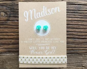 Flower Girl Card ~ Flower Girl Earrings ~ Will You Be My Flower Girl ~ Rose Earrings ~ Flower Girl Proposal