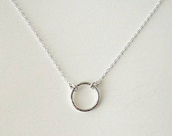 Circle Charm Necklace  |  Dainty Circle Necklace  |  Ring Necklace  |  Circle Necklace  | Bridesmaid Jewelry  |  Wedding Jewelry