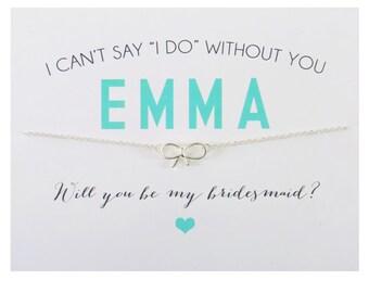 SILVER ~ Bow Charm Bridesmaid Card ~ Bow Charm Necklace ~ Bridesmaid Proposal ~ Bridesmaid Gift ~ I Can't Say I Do Bridesmaid Card