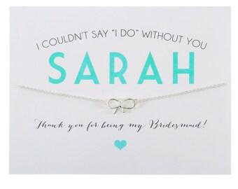 SILVER ~ THANK YOU Bridesmaid Card ~ Thank You Bridesmaid Gift ~ Bow Charm Necklace ~ Bridesmaid Necklace  Ask a question