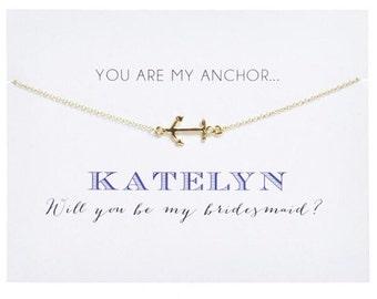 Anchor Bridesmaid Card ~ Anchor Charm Necklace ~ Anchor Charm Bridesmaid Card ~ Bridesmaid Proposal ~ Will You Be My Bridesmaid