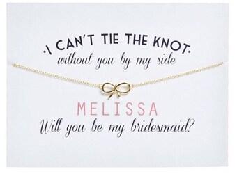 Gold - Bridesmaid Card - Bridesmaid Necklace - Ask Bridesmaid - Bridesmaid Proposal - Will you be my bridesmaid - Greeting Card