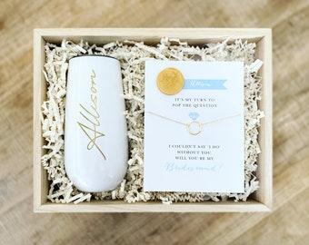 Bridesmaid Box - Wine Tumblr - Bridesmaid Necklace - Bridesmaid Card - Bridesmaid Gift - Maid of Honor Card - Maid of Honor Necklace