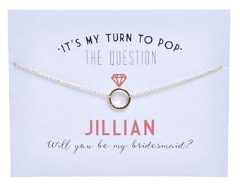 Gold - Bridesmaid Card - Bridesmaid Proposal - Ask Bridesmaid - Pop the question - Bridesmaid Gift -Charm Necklace