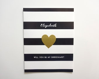 Will You Be My Bridesmaid Greeting Card - Bridesmaid Invitation - Bridesmaid Card - Ask Bridesmaid - Bridesmaid Proposal - Striped Card