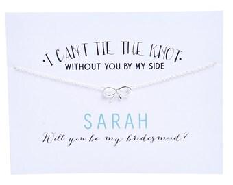 Silver - Bridesmaid Card - Ask Bridesmaid - Bridesmaid Proposal - Bow Charm Necklace - Bridesmaid Necklace