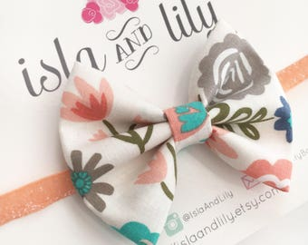 Coral Floral Bow Headband or Clip - White & Peach Flowers - Easter - Spring - Baby and Toddler Accessory