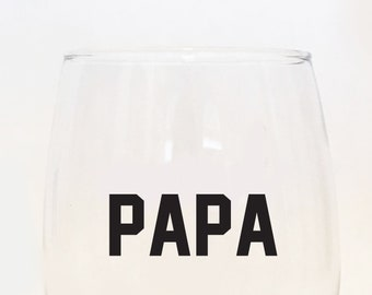 Papa Stemless Wine Glass / Father's Day Present / Grandpa Wine Glass / Number One Grandpa / Papa / Grandpa to be / Gramps / #1 Papa / Gift