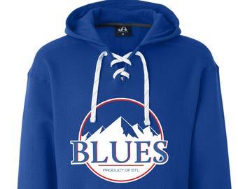 Hoodie Sweatshirt - St. Louis Blues Hockey Mountains Long Sleeve Hooded Sweatshirt Royal Blue / Saint Louis pz2RI