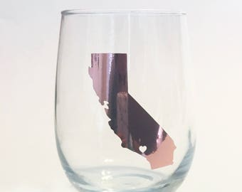 Gold Foil - Custom State Outline City Heart Stemless Wine Glass - Los Angeles, California