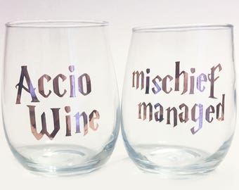 Rose Gold - Accio Wine & Mischief Managed Harry Potter Inspired Stemless Wine Glasses / Spells / HP Wine
